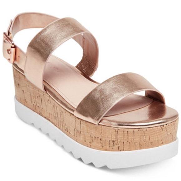 5135357fb81  Madden Girl  Sugar Rose Gold Flatform Sandals